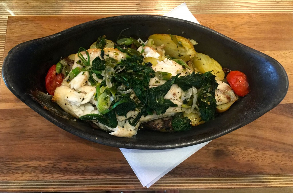 Cod with new potatoes_spinach_roasted cherry tomatoes