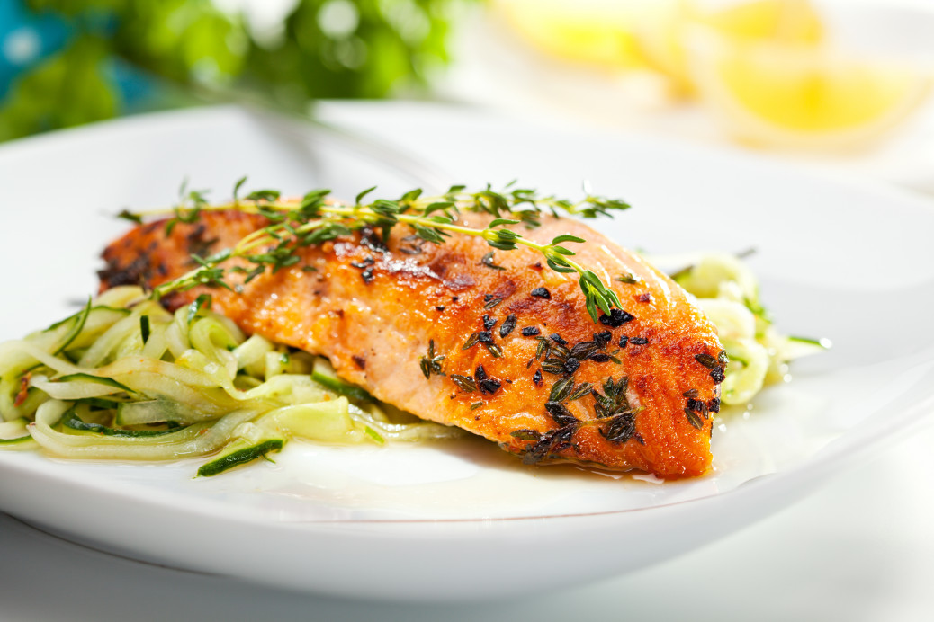 Postpartum nutrition salmon teriyaki with courgetti noodles