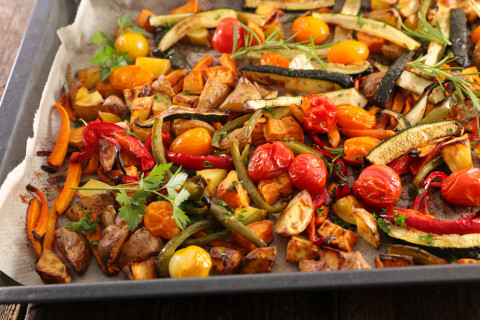 Postpartum Nutrition: Roasted Sweet Potatoes and Mediterranean Vegetables